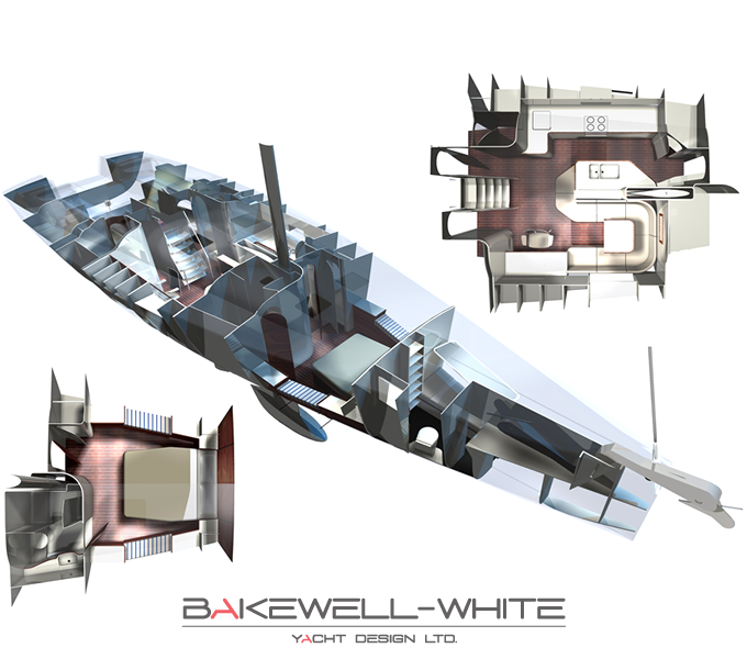 Yacht Rendering by Bakewell-White Yacht Design