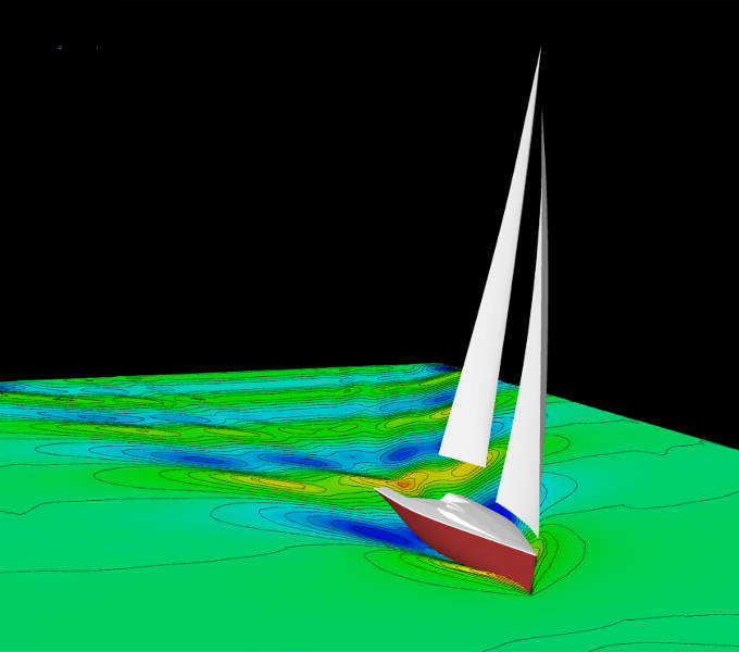Sailing boat with free surface elevation and isolines (Courtesy of Ker Design)